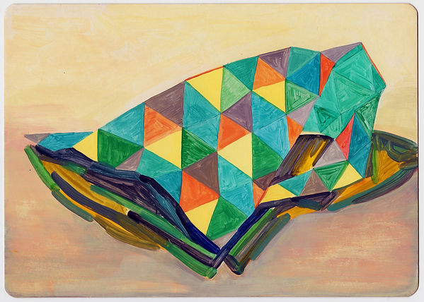 Painting by Louisa Chambers titled Creature, irregular folded shape with geometric patterned surface in greens, oranges, browns and yellows situated on a beige and clay rose ground.