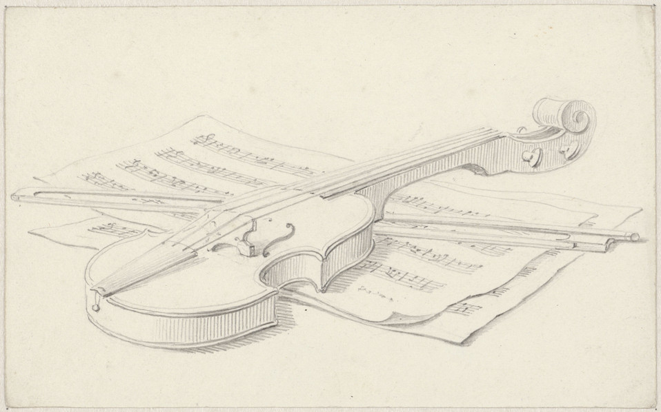 Still-life with Violin, Bow and Sheet Music, Pieter de Goeje, c. 1810. Material: paper, chalk Measurements: h 120 mm × w 194 mm