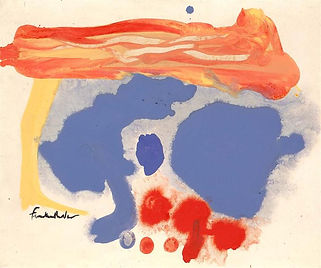 Helen Frankenthaler, Summerscene Provincetown, 1961. A lively and loose abstract watercolour painting with reds and corflower blues.