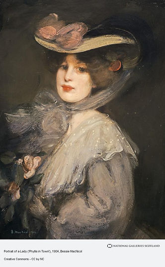 Portrait of a Lady by Bessie MacNicol (1904). A painting of a wealthy looking white woman, with lacework on her dress, flowers and a wide brimmed hat.
