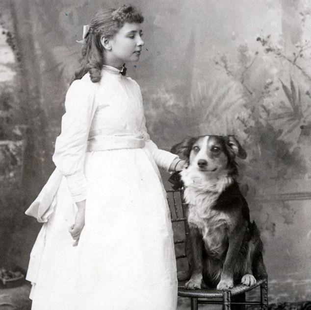 Helen Keller with dog