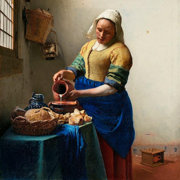 The Milkmaid, By Johannes Vermeer ca 1660. Original from the Rijksmusuem, source raxpixel