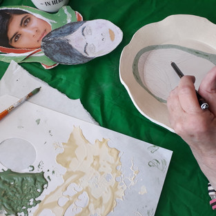 Image: Ceramic Workshop with Robyn Walsh of Surface_Studios and Harriet Tritton. Hand glazing earthenware ceramic plates. To celebrate inspirational women for International Women's Day 2019.