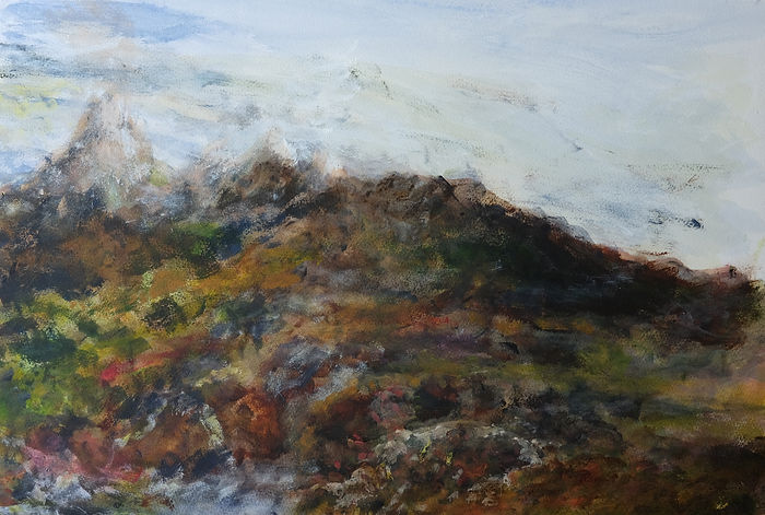 Painting of a landscape in deep brown heather-like and brown bracken colours. The painting is lively and evokes a feel of being in the elements.