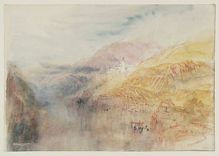 J. M. William Turner, Zwingenberg on the Neckar, 1844. Subtle warm colours feature in this soft drawing of a hilly landscape.