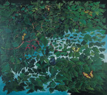 A painting in a realist style depicting branches of green leaves over a pool of water, with yellow butterflies.