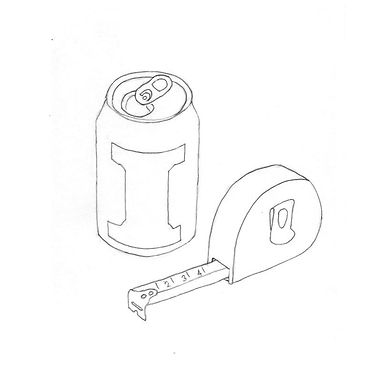 Black and white line drawing of an open fizzy drink can labelled with the letter 'I', and a tape measure spooled out to 4cm.