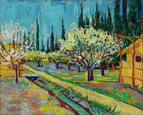 Van Gogh's painting Orchard Bordered by Cypresses.