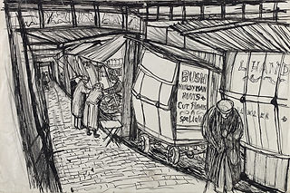 Image: Joan Eardley, Covered Market, Glasgow, 1945-1949, ink on paper, courtesy ofThe Glasgow School of Art. A pen drawing in black ink of a market scene, it's loosely drawn and we can see three figures, each slightly hunched over, looking at the goods for sale and walking along.