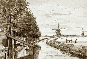 Brush, pen and ink drawing of a Landscape with a tree lined canal and two mills by Jean Bernard.