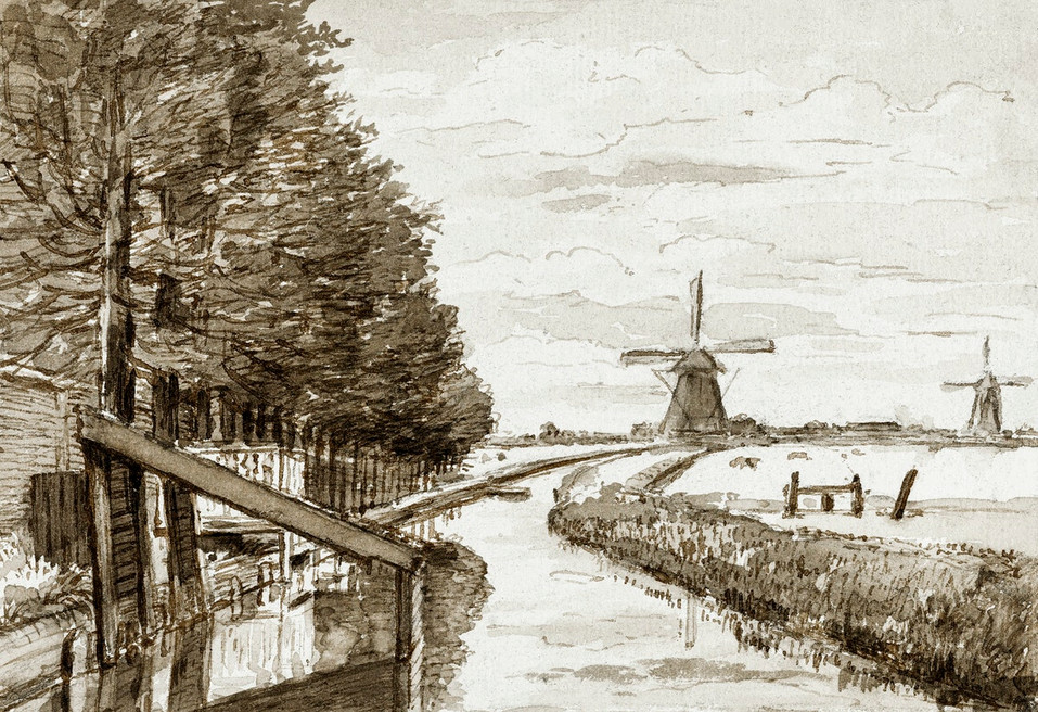 Landscape with a canal and two mills by Jean Bernard (1775-1883). Original from the Rijks Museum. Digitally enhanced by rawpixel.