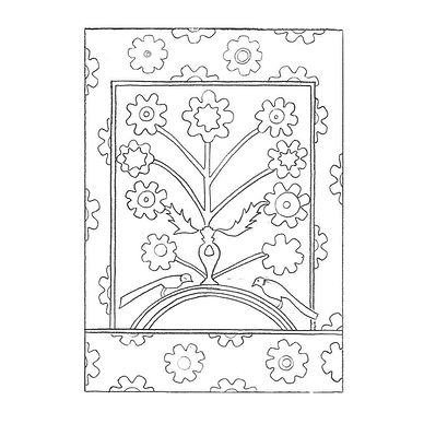 Black and white line drawing depicting a floral motif with two birds surrounded by a floral frame.
