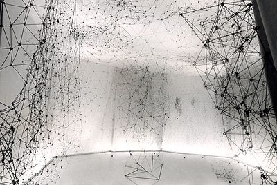 Gego's artwork titled Reticularea a drawing in space using stainless steel wire.