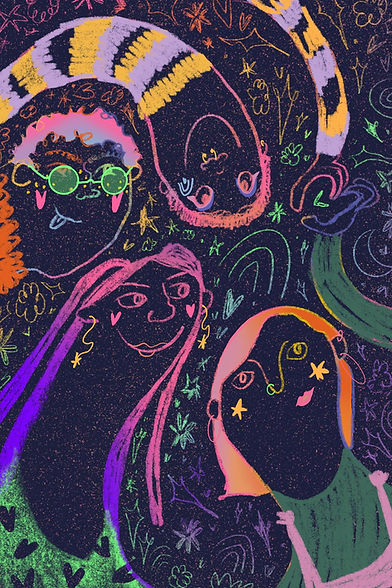 Digital drawing by Aimee Haldane titled doodle showing swirling figures and faces in multicolours against a dark background.