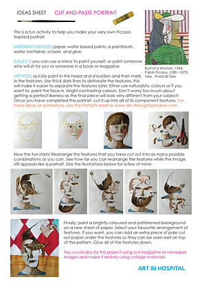 Cut and Paste Portrait ideas sheet including written instructions with diagrams. The digrams show the stages of painting a portrait that is then cut up and reassembled and collaged to a patterned and colourful background.