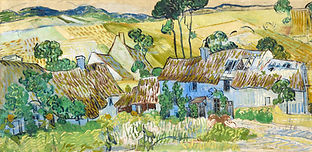 An oil painting by Van Gogh of white farm buldings with thatched roofs, yellow fields, trees, and blueish mountains. It looks very sunny and still.