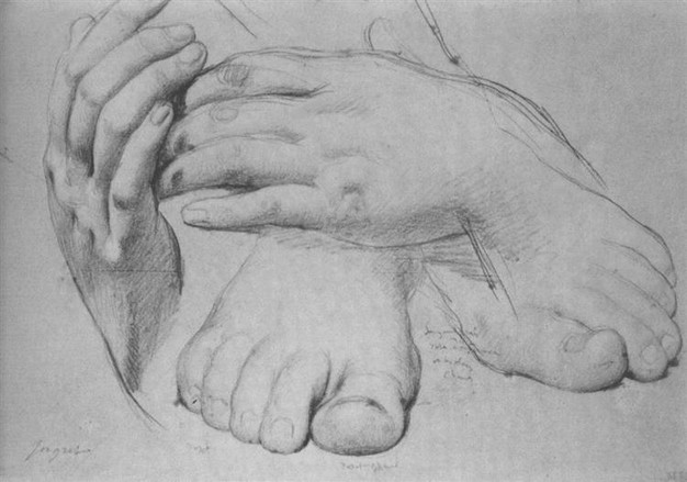 Study of Hands and Feet for The Golden Age Jean Auguste Dominique Ingres, Date: 1862