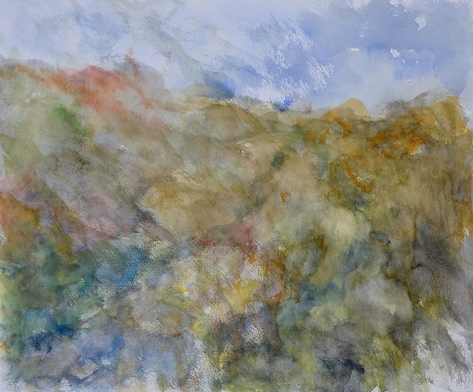 Atmospheric watercolour painting of a loosely rendered landscape in moss and heather colours..