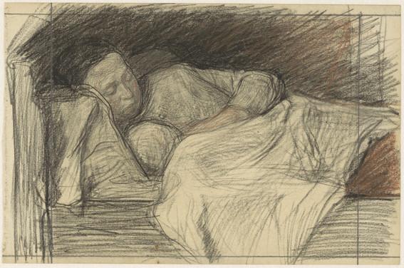 Moeder in bed met kind, Jan Veth, 1874 - 1925