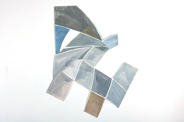 Abstract painting cut to an irregular shape in greys, grey blue and muted pale browns mounted on white wall.