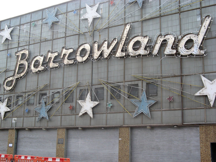 The Barrowland Ballroom. Front of the concerthall, bearing its name in bold letterwork.