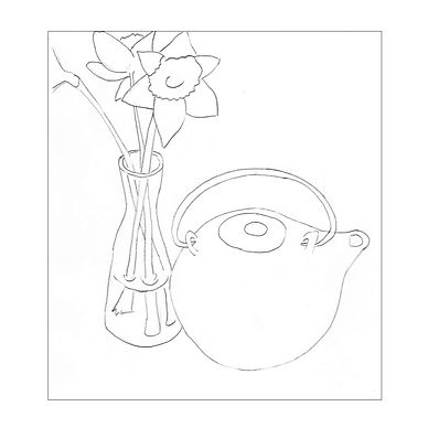 Black and white line drawing of a round teapot and glass vase of daffodils.