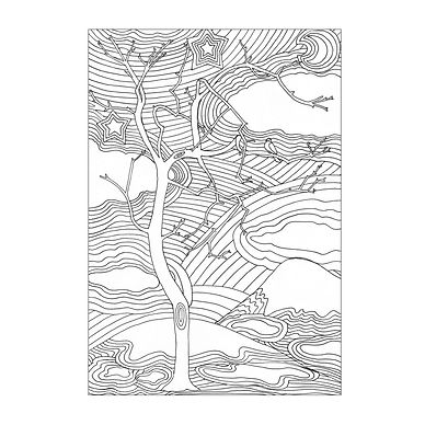 Black and white line drawing, in quite a psychedelic style, with many rippling lines, of a tree, gentle hills and busy patterned sky with stars and crescent moon.