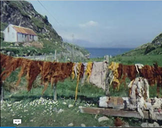 Colourful wool drying on a line, the sea in the distance, beyond a grassy, stony cut through the land.