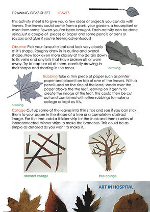 Ideas Sheet on making Rubbings and Collages of Leaves, written suggestion with accompanying illustrations of collaged leaves and leaf rubbings.