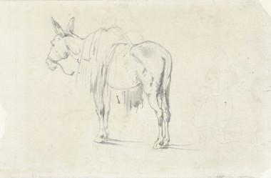 Beladen ezel, Johannes Bosboom, 1827 - 1891). pen, h 105mm × w 157mm RijksMuseum, Public Domain