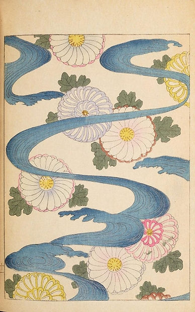 Old Japanese print with pattern made up of pink and white flowers with green leaves and blue swirling marks that look like water or a river.