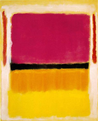 Mark Rothko,Violet, Black, Orange, Yellow on White and Red, 1949. Abstract painting with large rectangular shapes, a black line bisecting them, and contrasting rough border.