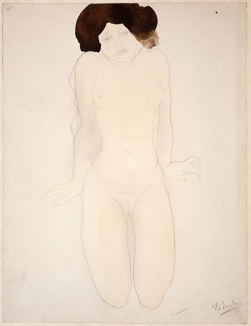 Kneeling Girl, en Face (Drawing No.6) No Date, Auguste Rodin French, 1840-1917  Medium: Watercolor, with graphite, on buff wove paper, laid down on buff wove paper Dimensions: 326 × 249 mm