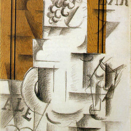 Fruitdish and Glass, 1912. Georges Braque