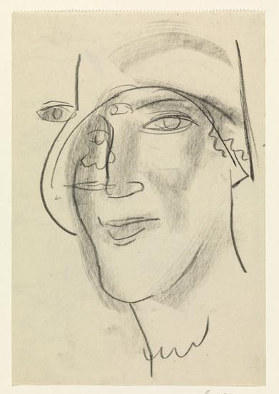 Vrouwen hoofd, Leo Gestel, 1891 - 1941. Material: paper Measurements: h 202 mm × w 136 mm Source: Rijks Museum, Public Domain