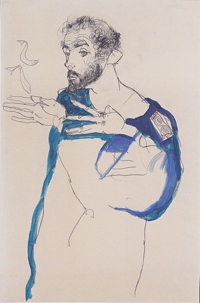 Klimt in a light Blue Smock by Egon Schiele, 1913. Medium: pencil and gouache on paper Wikimediacommons