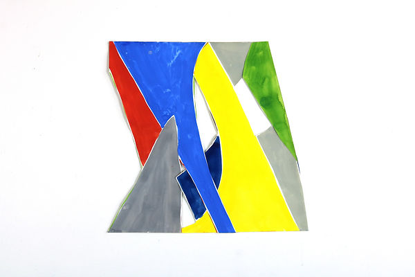Abstract painting cut to an irregular shape in primary blues, reds and yellows with grey, green and navy.