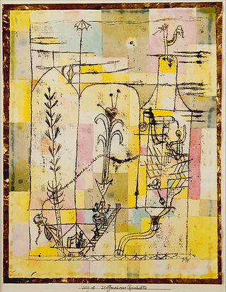Paul Klee 'Tale à la Hoffmann' (1921), watercolour, ink and pencil on paper. Abstract painting made from a backround of rectangle shapes of yellows, pinks, pale blues, with plant-like drawings and small figures ascending a staircase and moving through a tower-like structure, with small clock faces.