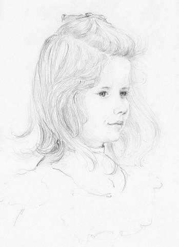 Portrait of a girl sketch by Julie de Graag (1877-1924). Original from The Rijksmuseum. Digitally enhanced by rawpixel.