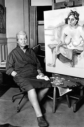 Alice Neel portrait seated in her studio next to one of her paintings by ©Lynn Gilbert 197