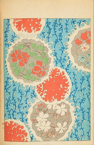 Japanese design with circular floral motifs that are gree, orange and pale brown against and pale blue and bright blue patterned background.