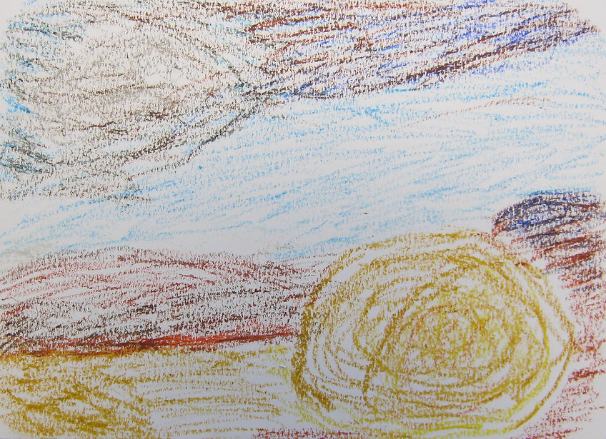 Oil pastel drawing by Corky paricipant with Art in Hospital. Golden Hay bale in rusty orange hilly landscape, with blue and brown sky.