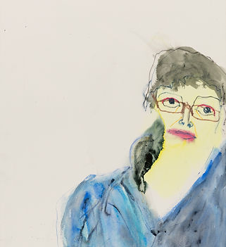Lucy Jones, I Got Squashed By A Piece of Paper, 2010, mixed media on paper© Lucy Jones, courtesy of Flowers Gallery. A portrait made with water-based paints and crayons; the figure appears to be leaning towards the right side of the picture, they are wearing a blue shirt and glasses. The marks are quite expressive and the colours vibrant.