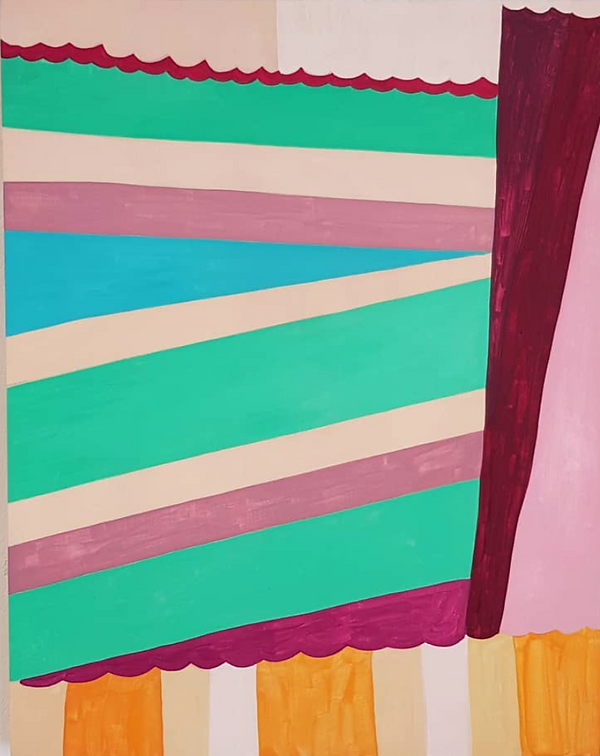 Paintng by Louisa Chambers titled Pleats. Flat couloured stripes or bands with scalloped edges divide up the picture plane. Rose pinks, jade greens, turquoise blue, mauve and ochre colours.