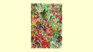 Still frame from Alan Lyon's Abstract Drawing Video Demonstration.  Watercolour red, green, brown gestural brushstrokes.