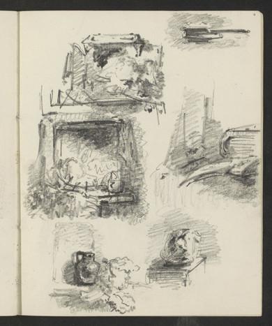 Stillevens met verschillende objecten, zoals een kan en boek, Maria Vos, 1858. Material: paper, pencil Source: Rijksmuseum, Public Domain