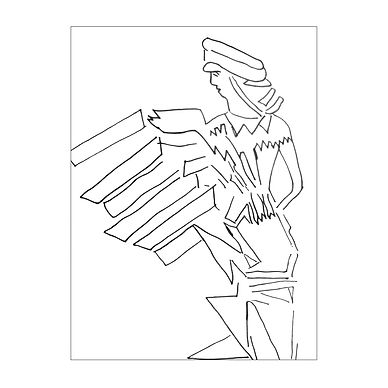 Black and white line drawing of a female in profile with geometric shapes that appear to be emitting from her.