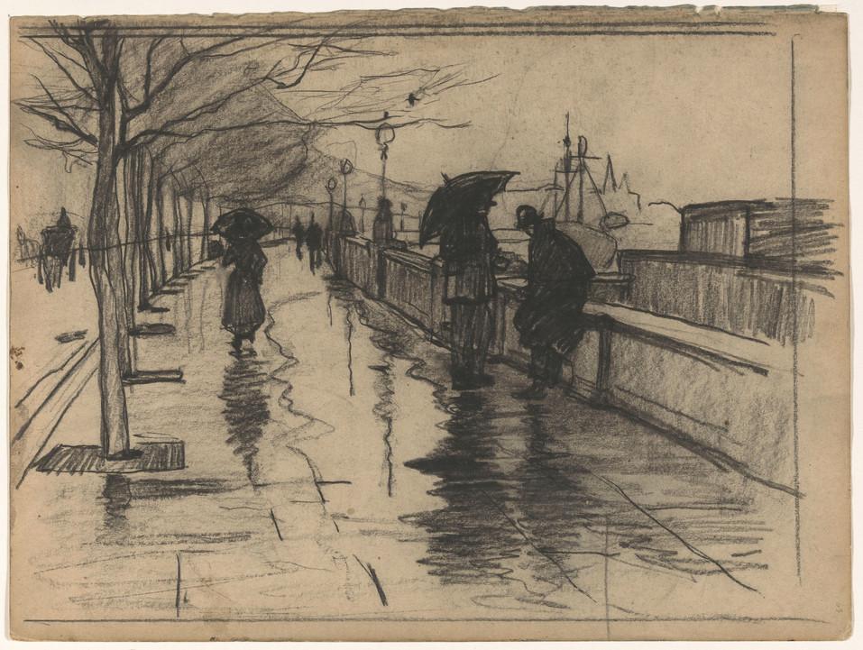 Regen, Thames Embarkment. Material: paper, chalk Measurements: h 245 mm × w 329 mm Source: RijksMuseum, Public Domain te Londen, Willem Witsen, 1870 - 1923