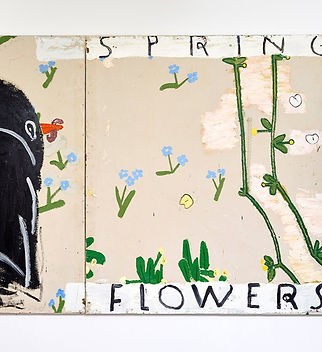 Image: Rose Wylie, Blackbird and Spring Flowers 2015, Oil On Canvas, 183 x 328 cm. Private Collection, Courtesy the Artist. We can see simply painted pale blue flowers, part of a stylised blackbird and green stems, along with text that reads SPRING FLOWERS.