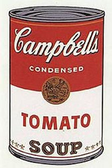 Andy Warhol's pop art painting of a Campbell's Tomato Soup Can.